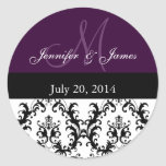 Purple Monogram Damask for Weddings Stickers