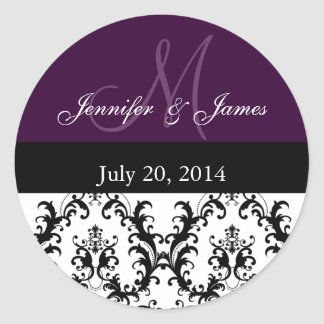 Purple Monogram Damask for Weddings Stickers
