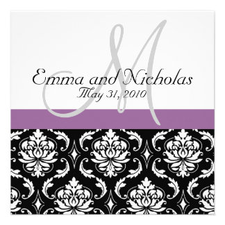 Purple Monogram Damask Wedding Invitation
