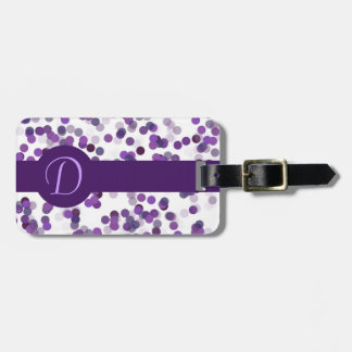 Purple Monogram Dots Tag For Bags