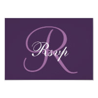 Purple Monogram | Elegant Wedding RSVP Card