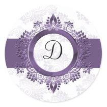 purple monogram envelope seal