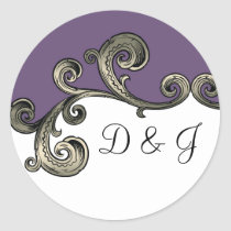 purple monogram envelope seal
