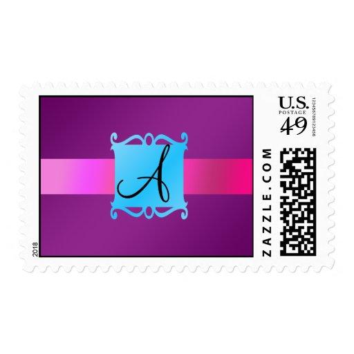 Purple monogram fancy emblem postage stamp