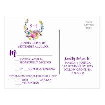 Purple Monogram Floral Wreath Menu Choice RSVP