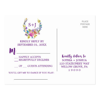 Purple Monogram Floral Wreath Song Request RSVP Postcard