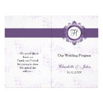 purple monogram folded Wedding program