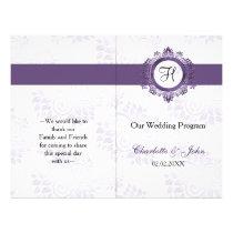 purple monogram folded Wedding program