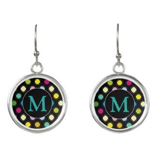 Purple Monogram   Irregular Dots Pattern Earrings