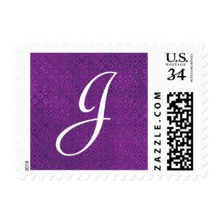 Purple Monogram J or Any Initial V008 Postage