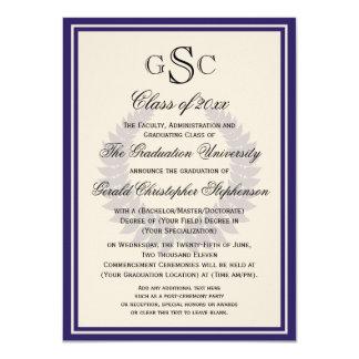 Purple Monogram Laurel Classic College Graduation 4.5x6.25 Paper Invitation Card