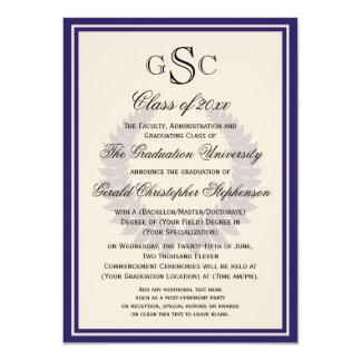 Purple Monogram Laurel Classic College Graduation Card