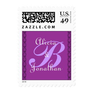 Purple Monogram Letter B Stamp