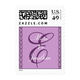 Purple Monogram Letter E Stamp