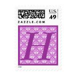 Purple Monogram Letter H Stamp