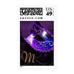 Purple Monogram Masquerade Party Postage