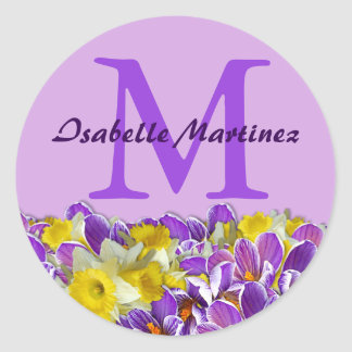 Purple Monogram Name Sticker with Spring Flowers