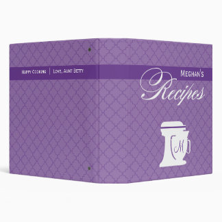 Purple Monogram Recipe Book 3 Ring Binder