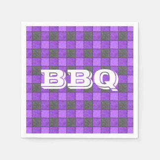 Purple Monogram Red Check Paper Napkin