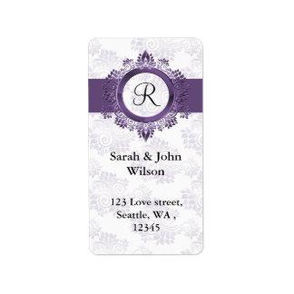 purple monogram return address label