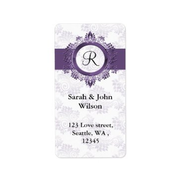 purple monogram return address label