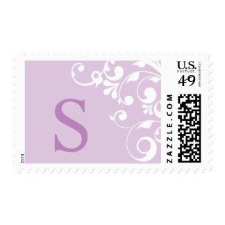 Purple Monogram S Wedding Postage