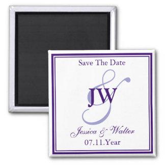 Purple Monogram Save The Date Magnet