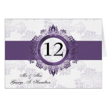 purple monogram table seating card
