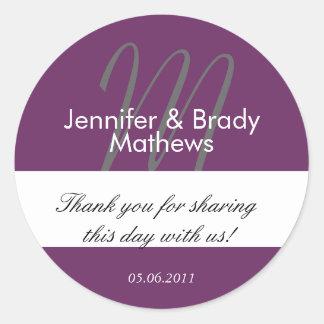 Purple Monogram Thank You Wedding Favor Stickers