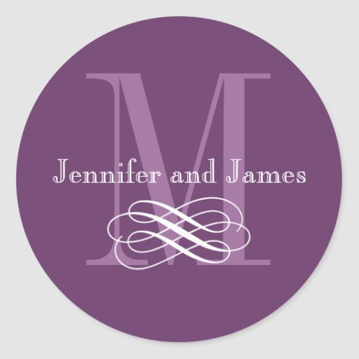 Purple Monogram Wedding Logo Stickers