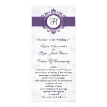 purple monogram Wedding program