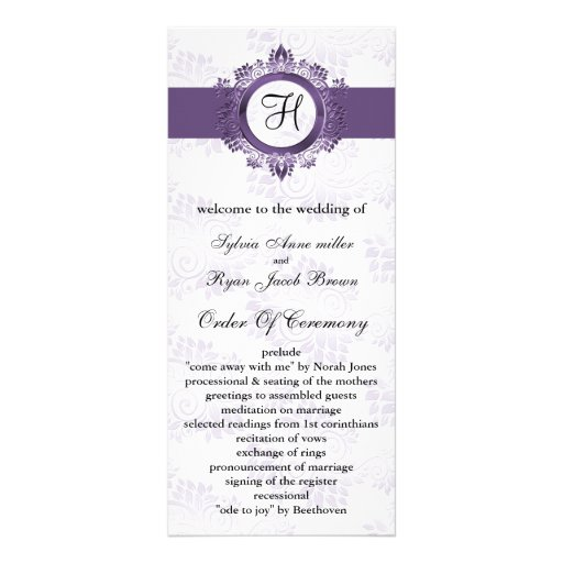 purple monogram Wedding program