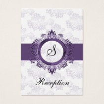 purple monogram wedding Reception Cards