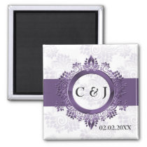 purple monogram wedding save the date magnets