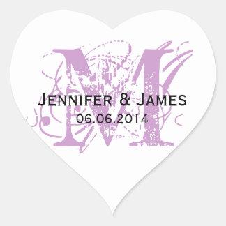 Purple Monogram Wedding Stickers Heart Shape