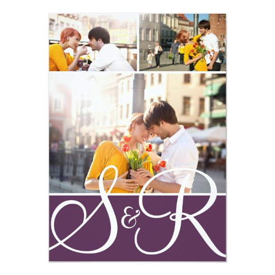Purple Monogram Wedding Three Photo Invitation