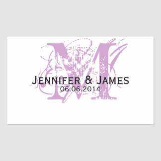 Purple Monogram Wedding Wine Labels Rectangular Sticker