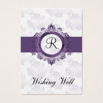 purple monogram wishing well cards