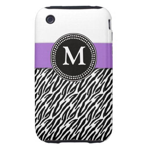 Purple Monogram Zebra Pattern iPhone 3 Case-Mate