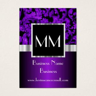 Purple monogrammed damask business card