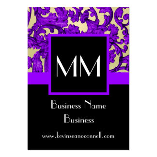 Purple monogrammed damask large business cards (Pack of 100)