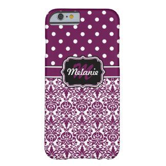 Purple Monogrammed Damask Polka Dots Pattern iPhone 6 Case