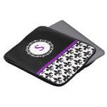 Purple Monogrammed Fleur de Lis Laptop Sleeve