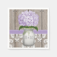Purple Monogrammed Hydrangea Mason Jar Napkin
