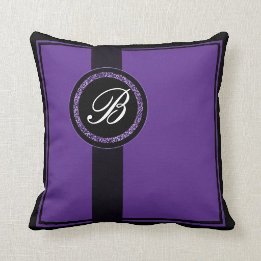 Purple Monogrammed Throw Pillows