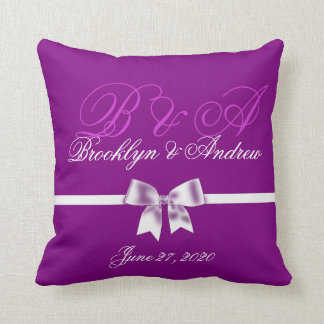 Purple Monogrammed Wedding Pillows With Bow