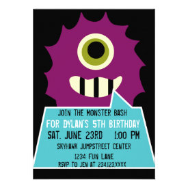 Purple Monster Birthday Party Invitations Black