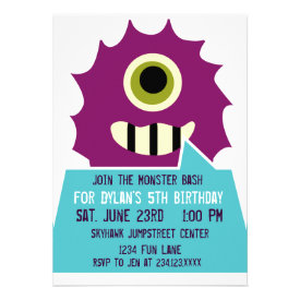 Purple Monster Birthday Party Invitations White