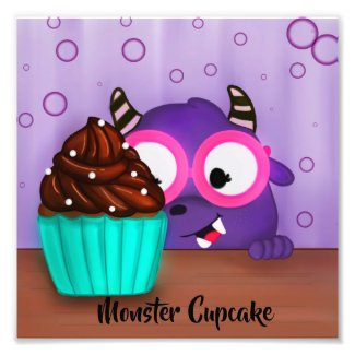 Purple Monster Cupcake Eater Photo Print