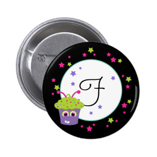 Purple Monster Cupcake With Green Frosting Pinback Buttons